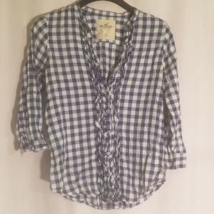 2/$20 hollister ruffle plaid top with buttons